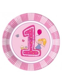Girl's First Birthday Plates (8)