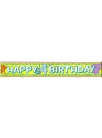 4th Happy Birthday Jungle Animals Banner