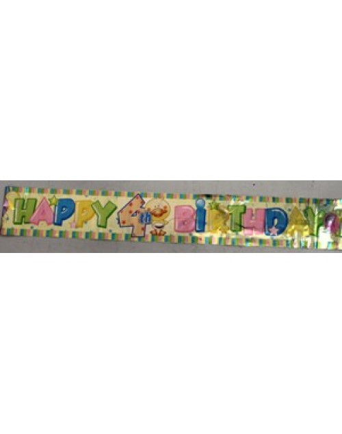 4th Happy Birthday Foil Banner