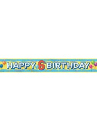 6th Happy Birthday Balloons Banner