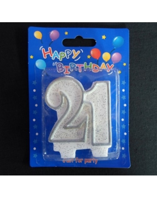 Silver and White Number 21 Candle