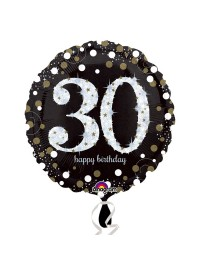 Black and Silver 30th Foil Balloon