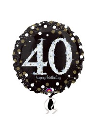 Black and Silver 40th Foil Balloon