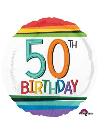 50th Birthday Rainbow Foil Balloon