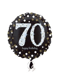 Black and Silver 70th Foil Balloon
