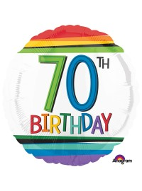70th Birthday Rainbow Foil Balloon