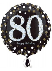 Black & Silver 80th Foil Balloon