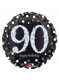 Black and Silver 90th Foil Balloon