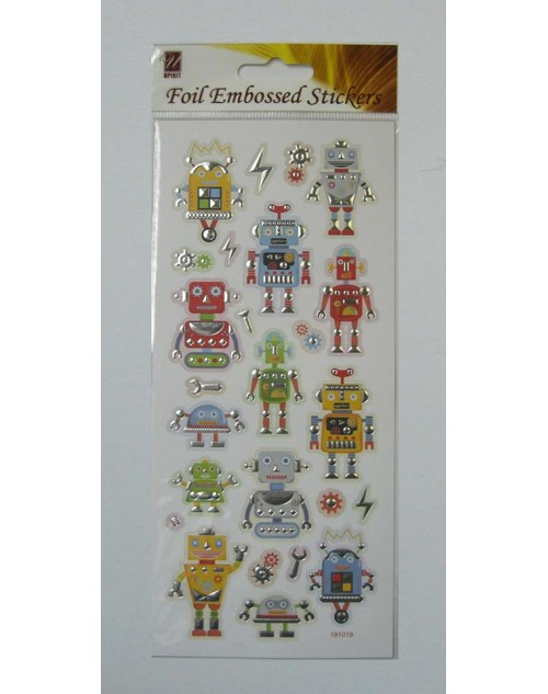 Foil Embossed Stickers - Robots