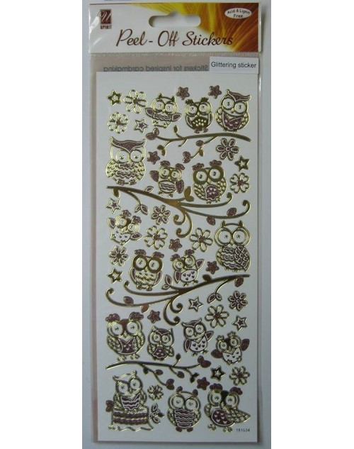 Peel-Off Sticker - Glittering Owl
