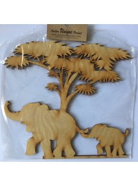 Elephants and Tree - Wood