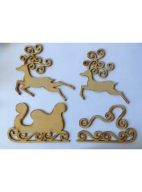 Santa Sleigh Set - Wood