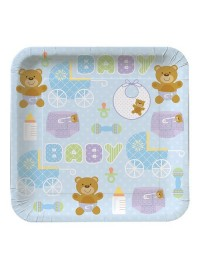 Teddy Baby Blue Plates (8)
