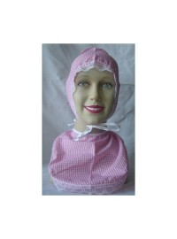 Adult Bonnet & Bib Set Pink