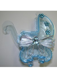 Baby Carriage Favor Box - Blue