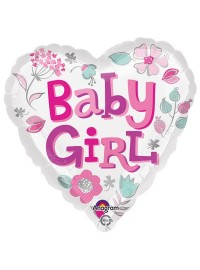 Baby Girl Heart Foil Balloon