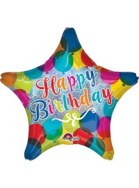 Happy Birthday Star Shape Foil Balloon