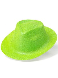Trilby Hat - Lime Green Glitter