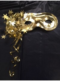 Eyemask on Stick - Gold Tinsel
