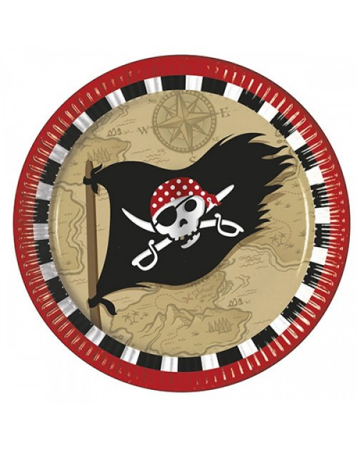 Pirate Treasure Map Plates (8)