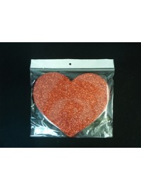 Heart Poly - Red Glitter - 10cm