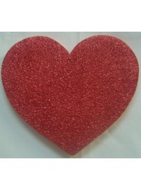 Heart Poly - Red Glitter - 25cm