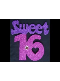 Sweet 16 Poly - Pink and Purple with Gem