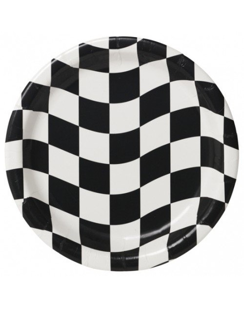 Black and White Check Dessert Plates (8)